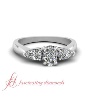 Details About 1 Ct Cushion Cut 3 Stone Diamond Engagement Ring In 14k White Gold Gia Certified