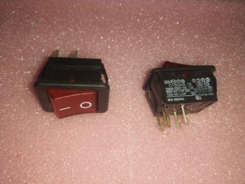 2x DELTRA C1353AB01RED 250V PANEL DPST ROCKER SWITCH 16A ILLUM RED