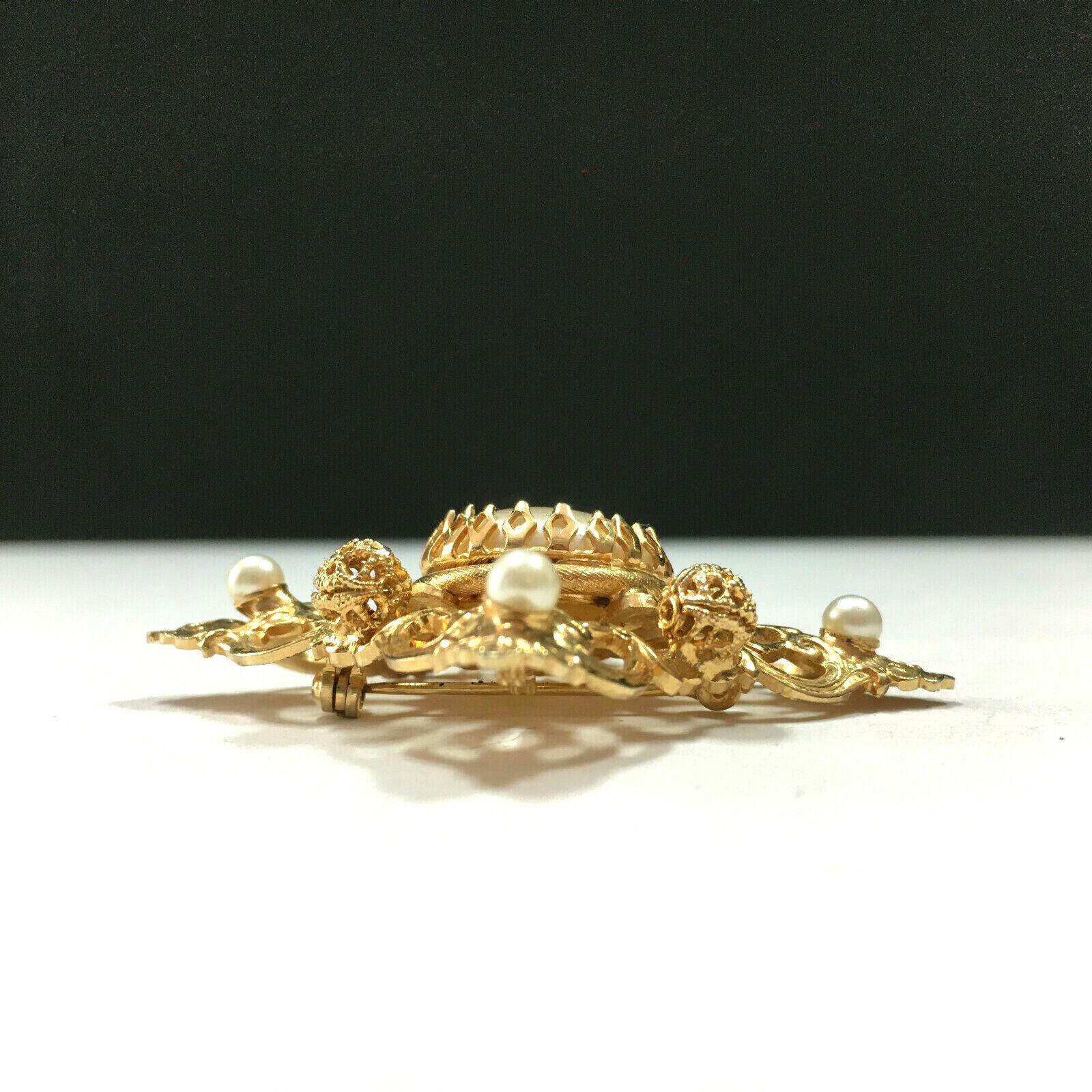 Vintage MOGHUL Pearl Brooch Pin Pendant Gold Plat… - image 4