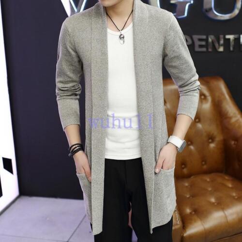Men/'s Korean Chic Long Cardigan Slim Dust Coat Trench Jacket Cloak Coat Overcoat