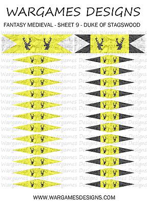 15mm Flags - Fantasy Medieval - Sheet 9 - Lion Rampant, FOG, DBA, Hail  Caesar | eBay