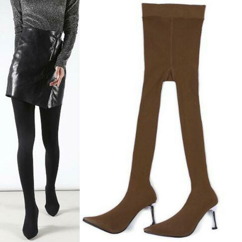 Puntiagudo Tacones Altos Para mujeres Cuero Zapatos botas Talla Pantalones Ajustados Zoquetes Pantimedias