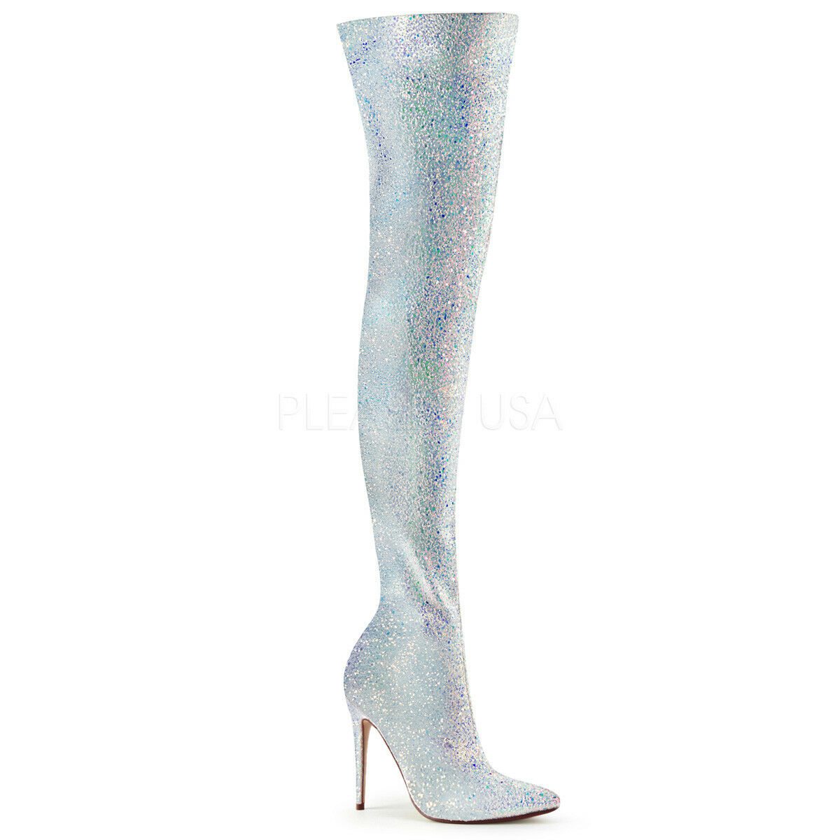 PLEASER COURTLY-3015 WHITE MULTI GLITTER STILETTO HEEL THIGH HIGH BOOTS