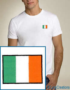 Ireland-Flag-EMBROIDERED-White-T-Shirt-Irish-NEW