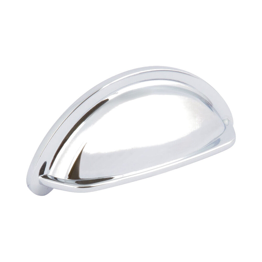 20 x CUP HANDLE Kitchen Cupboard Ariel Door Chest Drawers Pull Handles Chrome