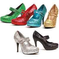 Mary Jane Pumps Glitter 4 Heel 3/4 Platform Double Strap Sizes 5-12 421-jane-g