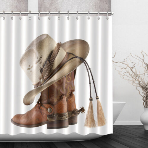 "Western Rustic Texas Star Bathroom Waterproof Fabric Shower Curtain Hooks 72x79/"""