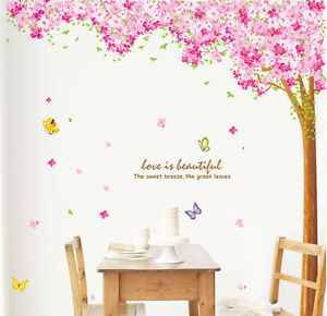 Mega-Pink-Blossom-Flowers-Tree-Removable-Wall-Art-Decals-Vinyl-Stickers-Mural