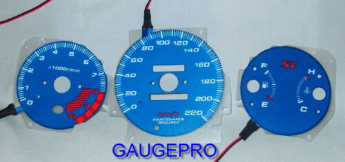99-00 CIVIC Si BLUE CARBON FIBER GLOW GAUGES in KM with 10k RPM/'s and 220 KM//H
