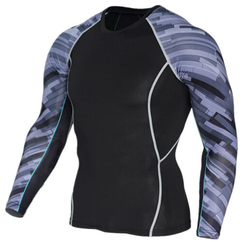 Men/'s Compression Base Layer Top Long Sleeve Tights Fitness Sports Gym T-shirts