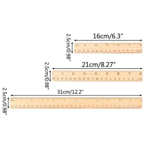 15cm//20cm//30cm Wooden Ruler Double Sided Student Office School Measuring Tool