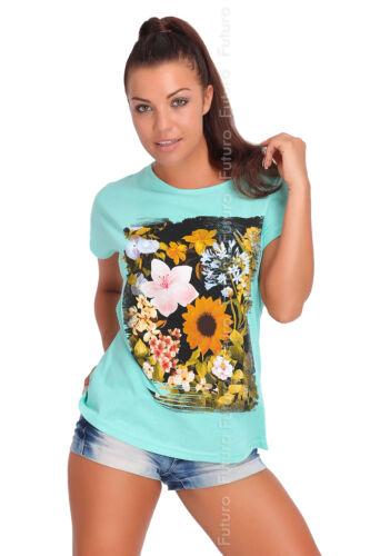 Party T-Shirt Flowers Print Crew Neck Short Sleeve Cotton Top Sizes 8-14 FB170