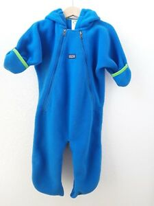 8e211fed4471 Baby PATAGONIA Synchilla Snowsuit Bunting Size 12 Months Blue Fleece ...