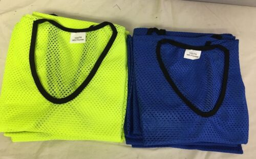 Nylon Mesh 6 Neon Yellow 6 Blue Scrimmage Team Practice Jerseys for Youth Sports