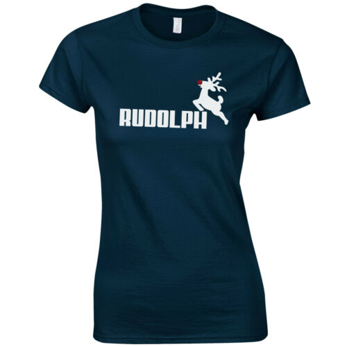 RUDOLPH Ladies Fitted T-Shirt Christmas Reindeer Rudolf Glitter Nose Gift Top
