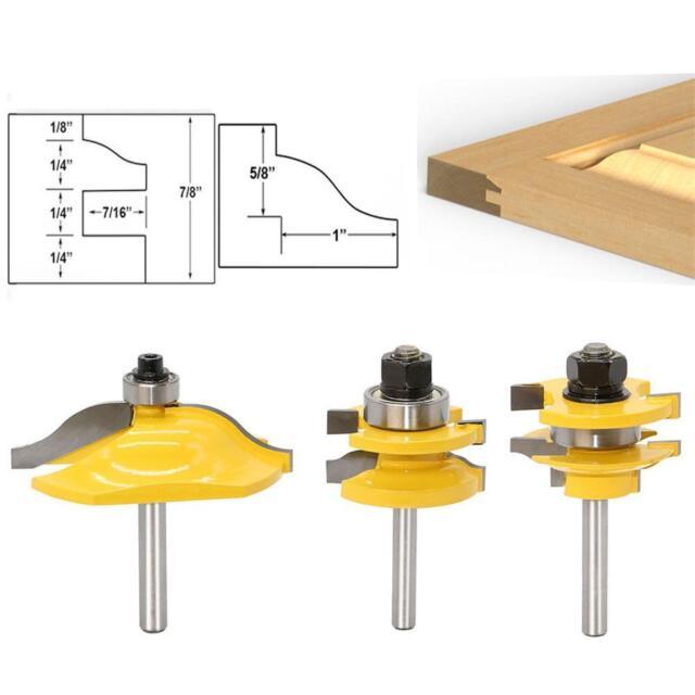 """3pcs//set 1//4/"""" Shank Router Bit Cabinet Door Milling Cutter Door Woodworking Tool"""