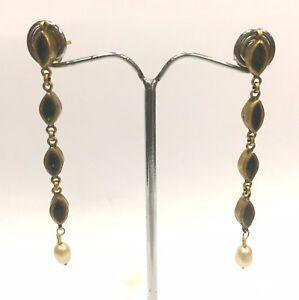 Vintage antique Handmade 20K Gold Jewelry Gemstones Earring Pair