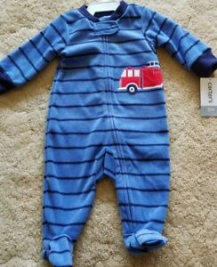 ec191eb63 Carter s Striped Firetruck Infant Footed Blanket Sleeper Pajamas 3 ...