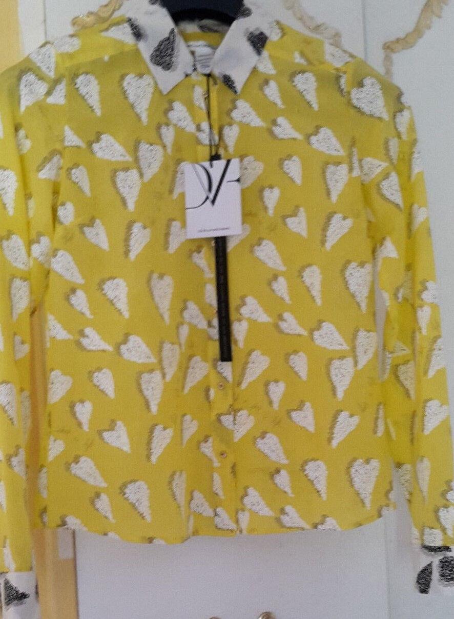 Diane Von Furstenberg Silk Shirt XS   6   34 Gelb Weiß NEW