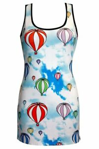 Ladies-Unique-Funky-Sky-Hot-Air-Balloons-Print-Long-Vest-Tank-Top-Dress