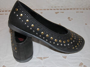 Girls Ballet Flats LEATHER BLACK Studded Accents RAGG 11 11.5 12 1.5 2 3 3.5
