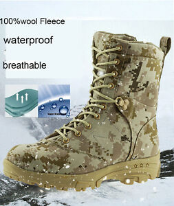 04a8b42428124 Men's Ankle Boots Camo Hiking Hunting 100%wool Fleeces Tactical ...