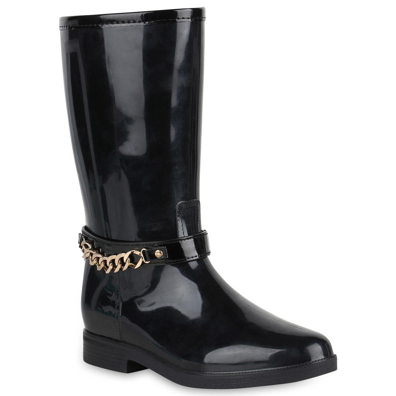Damen Stiefel Gummistiefel Lack Ketten Boots Blockabsatz 819543 Schuhe