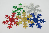 100x GLITTER PAPER SNOWFLAKE SHAPE DIE CUTS XMAS CHRISTMAS CARD MAKING TOPPERS
