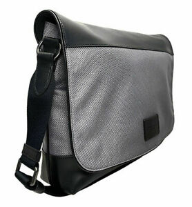 COACH-Men-039-s-Nylon-Leather-Messenger-Bag-Black-Heather-Grey-NWT-MSRP-395