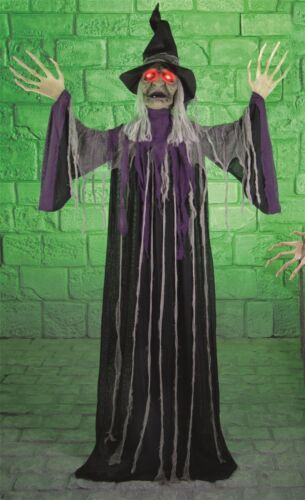 2M Huge Standing Talking Light Up Witch Halloween Scary Horror Prop Shop Display