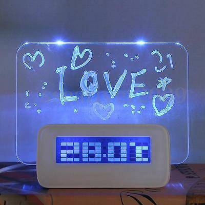 Digital Message Board Pen LED Light Clock Alarm Temperature Calendar Date Timer
