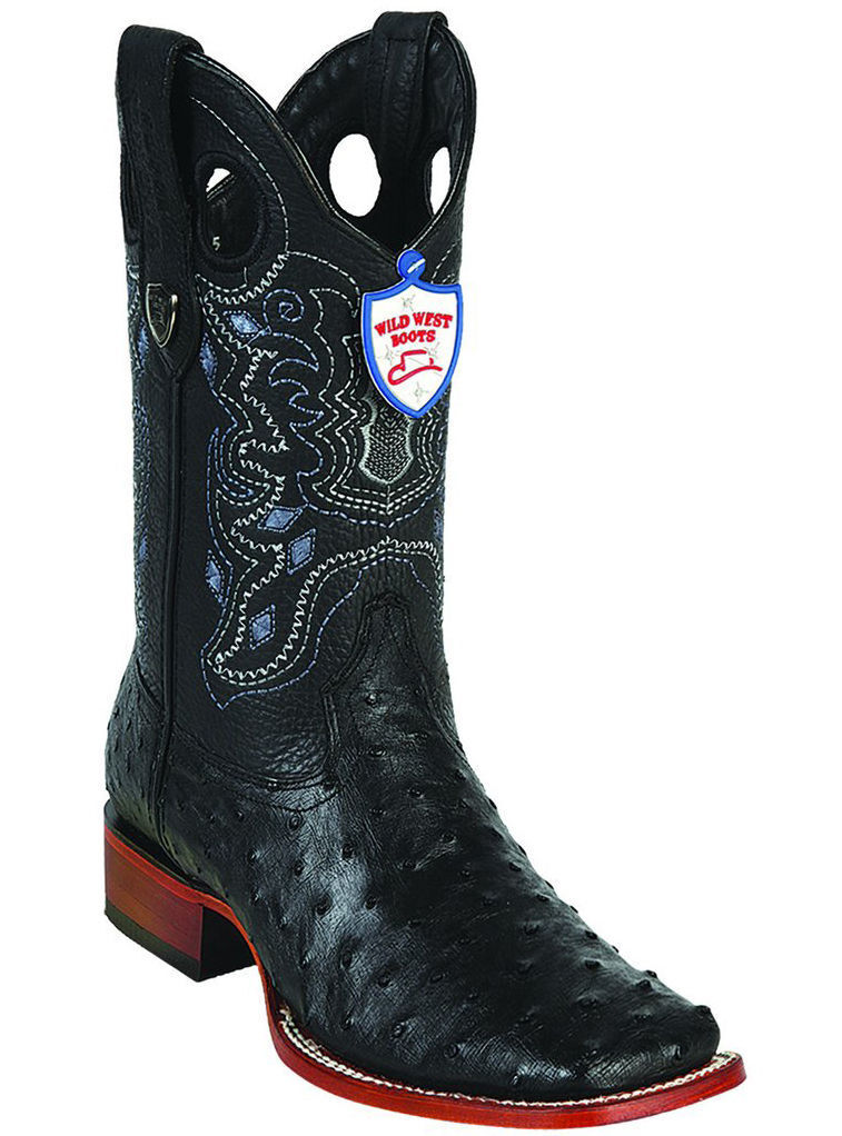 WILD WEST nero FULL QUILL OSTRICH COWBOY avvio RANCH-WIDE SQUARE-TOE (EE)