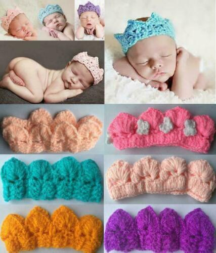 Newborn Baby Crown Hat Crochet Knit Costume Photo Photography Prop Outfits