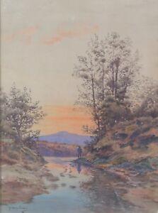 Melchior-Jaubert-1848-1913-Landschaft-Fischer-Digne-Isere-Grenoble