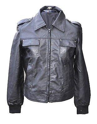 Details zu Herren Lederjacke Leder Bikerjacke Jacke extra weich Kunstleder Schwarz 084