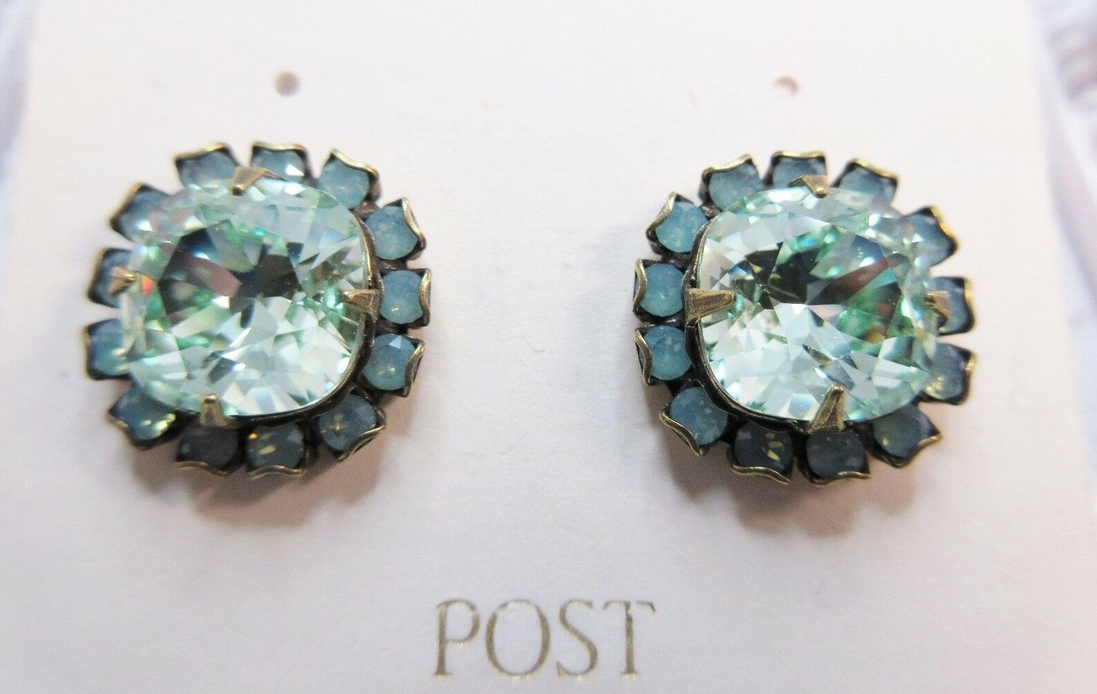New Liz Palacios Pacific Opal color and Chrysolite Crystal Surround Earrings