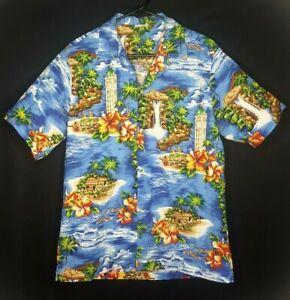 Vintage-Single-Stitch-Aloha-Republic-Herren-grosse-Hawaii-Insel-Blumen-Shirt