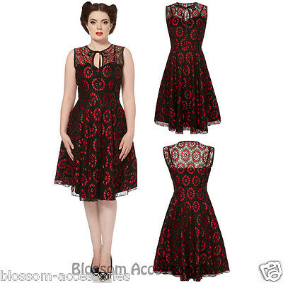 RKV15 Voodoo Vixen Red Lace Satin Rockabilly Pin Up Vintage Dress 50s Retro
