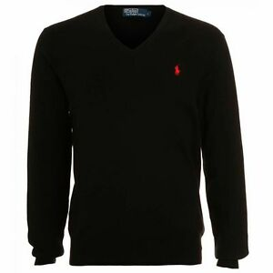 Men-039-s-Ralph-Lauren-Italian-Yarn-Lamb-039-s-Wool-V-Neck-Pull-Over-Jumper-New