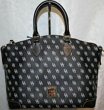DOONEY AND BOURKE GRETTA SATCHEL BLACK NG968 COATED CANVAS