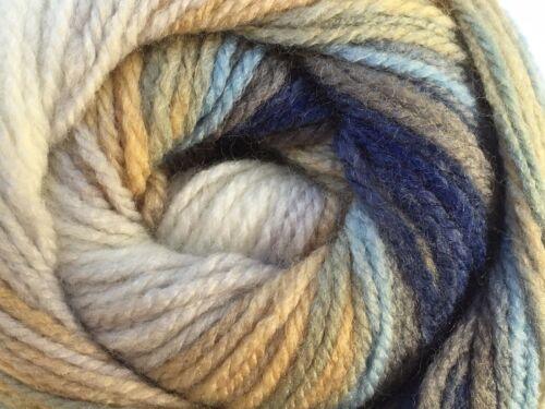100 Gram Magic Light #22031 Blues Gray Camel White Self-Striping DK Yarn 393yds