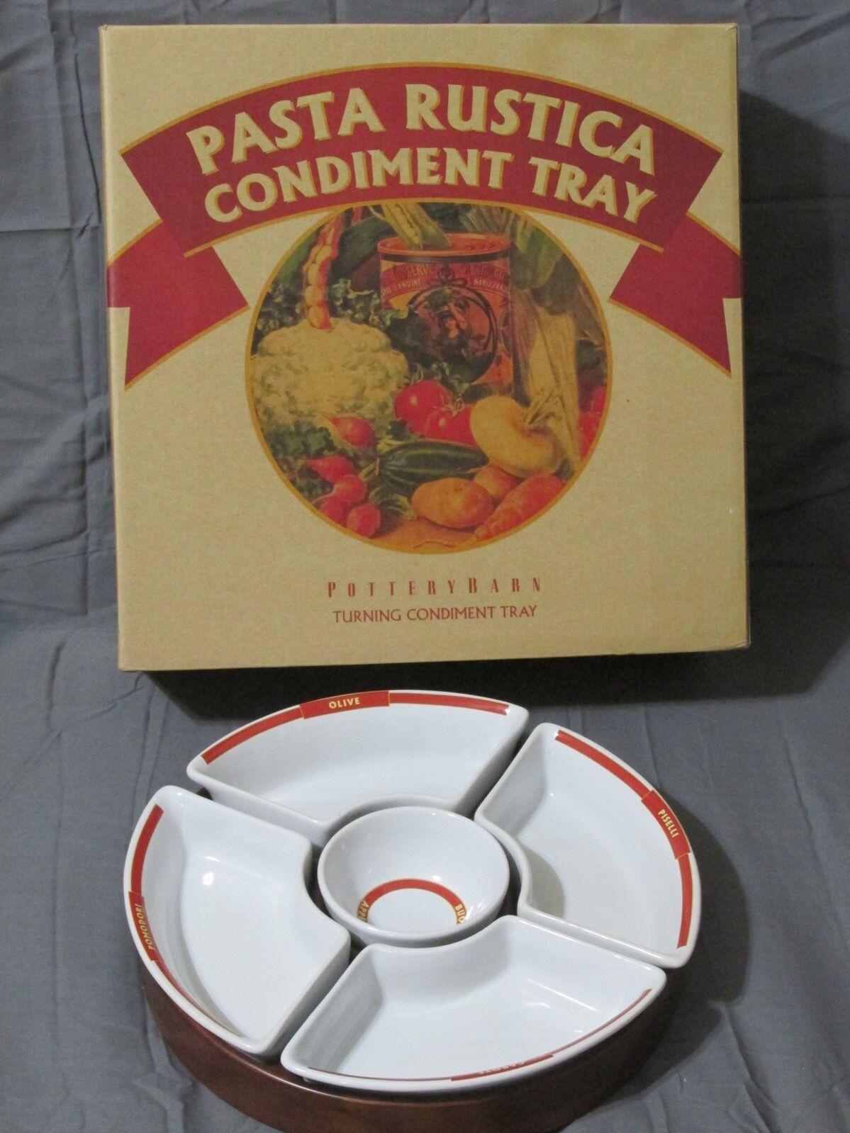 Pottery Barn Pasta Rustica Condiment Carousel Lazy Susan Wood ...