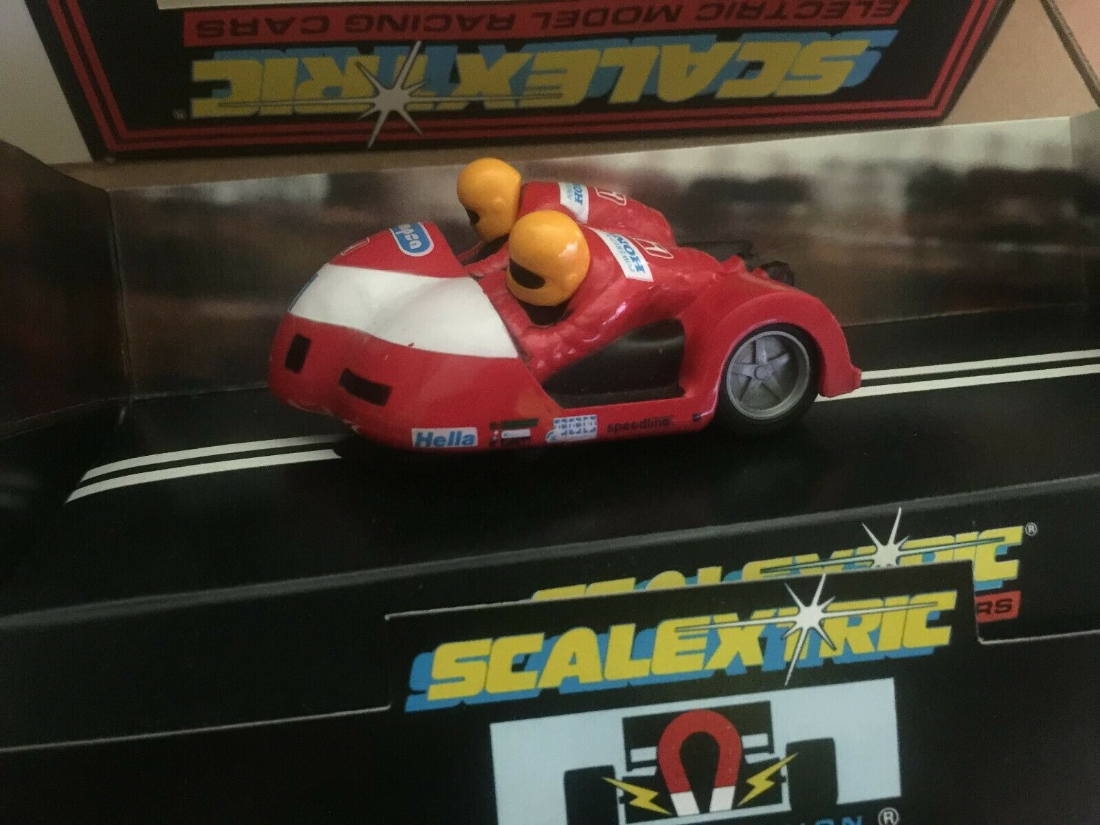 Scalextric interrompu Moto & Side-Car Racing rouge ref C238 Comme neuf boxed