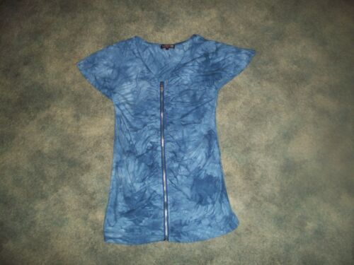 Blouse size Up zip Dye Womens Tie Medium faxwn6