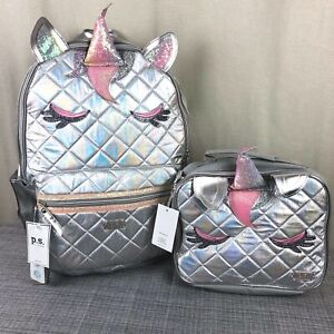 NWT-P-S-by-Aeropostale-Silver-Quilted-Unicorn-17-034-Backpack-Bookbag-w-Lunchbox