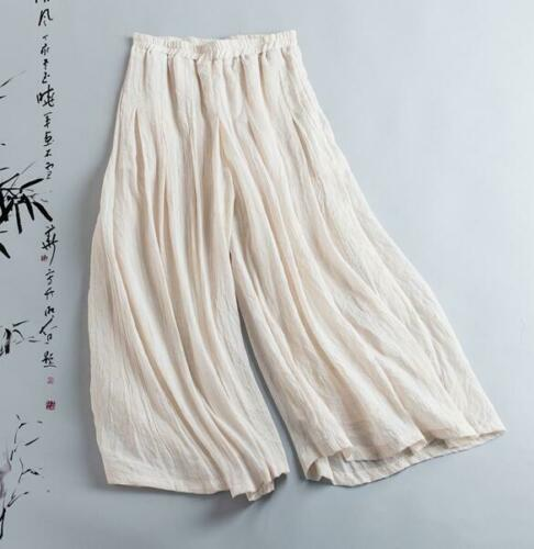 Women Casual Pants Loose Harem Trousers Solid Chic Spring Retro Linen Wide Leg