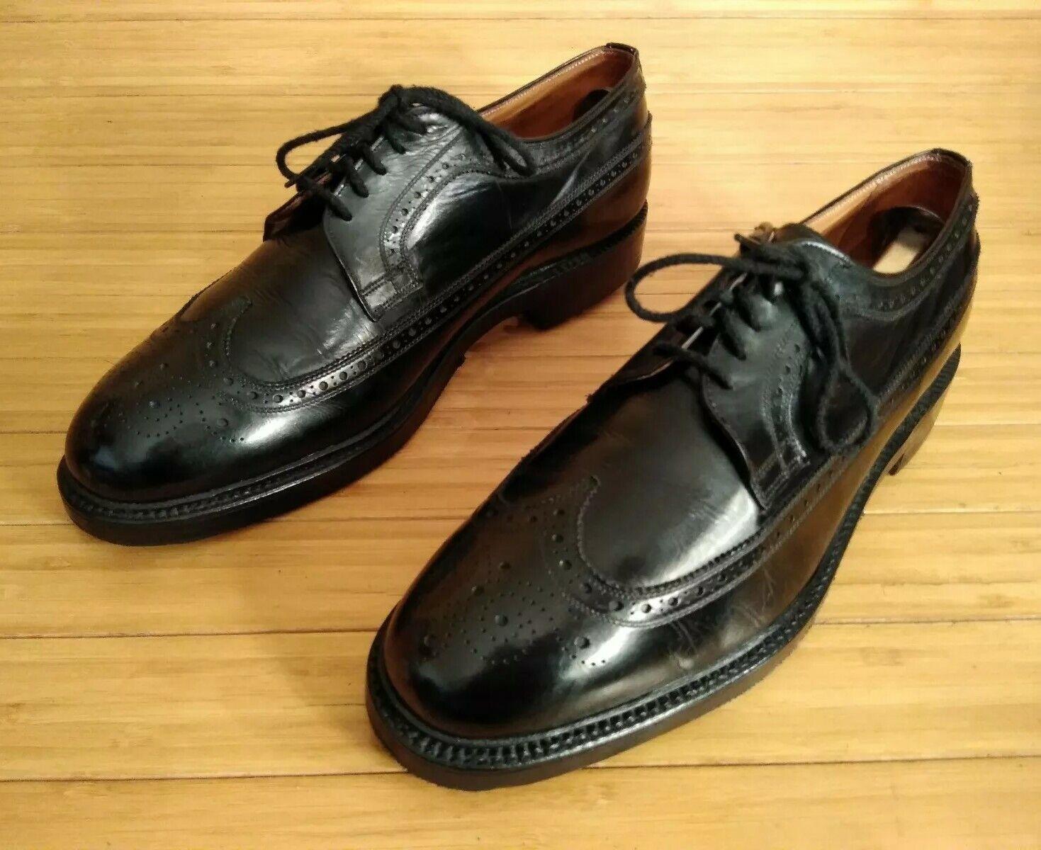 Tweed por Chaney Of Inglaterra Zapatos inglés de la Iglesia. 10 Negro nos extremos del ala.