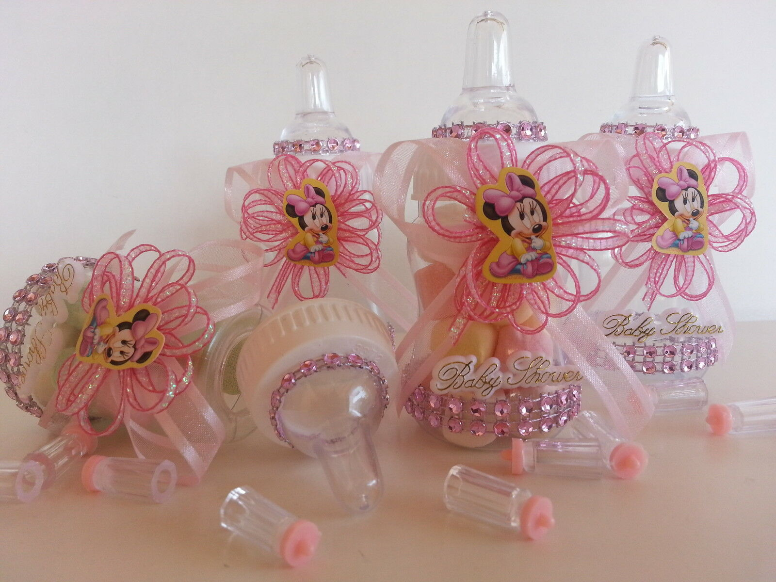 12 Minnie Mouse Pink Fillable Bottles Baby Shower Favors Prizes Girl ...