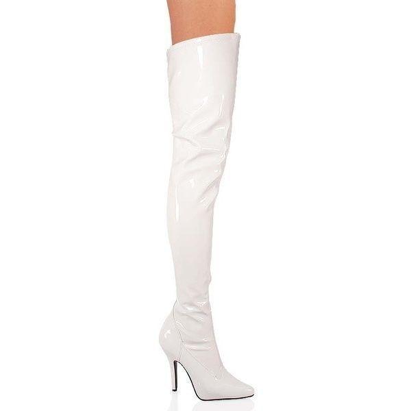 Pleaser 13 cm Stiletto High Heels Overkneestiefel Seduce-3000 weiß weiß weiß Lack Gr 36-46 56e212