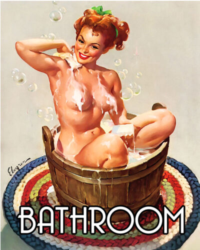 Bath Bathroom Door PIN UP GIRL Retro ENAMEL METAL TIN SIGN WALL PLAQUE